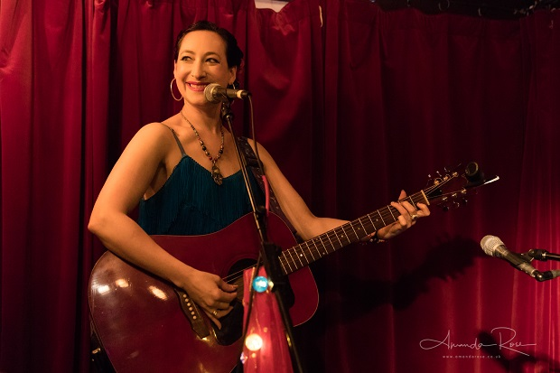 Rachael Sage, performing live with Kelly Halloran, at the Green Note, Camden, London, UK. 18th July 2019